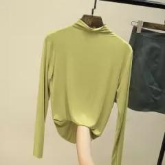 t恤女长袖莫代尔半高领打底衫秋季新款纯色修身显瘦薄款百搭上衣