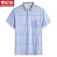 爸爸短袖T恤男40-50岁中年男士上衣冰丝夏装polo衫中老年人爷爷装