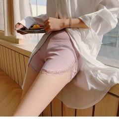纯棉安全裤女夏蕾丝花边防走光打底短裤大码保险裤薄款外穿